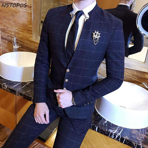 Mandarin Collar Plaid Check Chinese Collar Slim Fit Suit