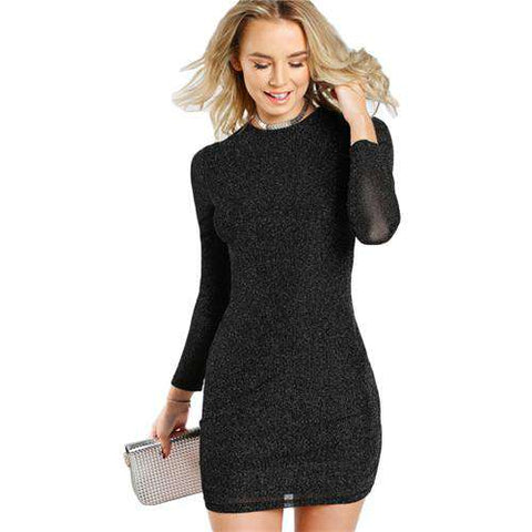 Glitter Form Fitting Black Long Sleeve Sexy Dress