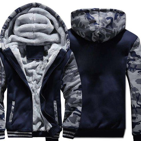 Casual fleece style Hooded Thick Zipper Jacket - WS-Jackets