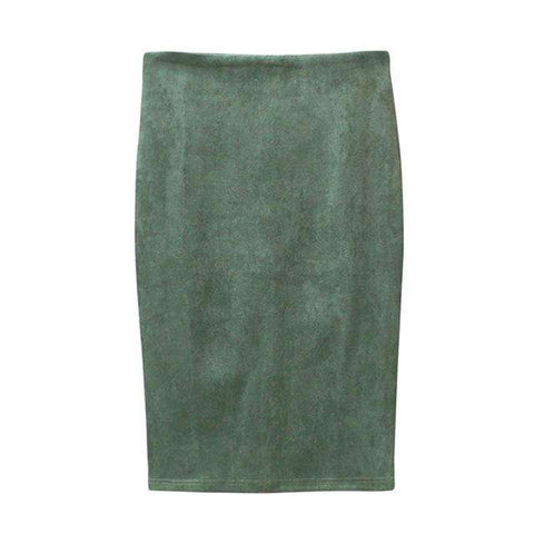 Suede Pencil Causal High Waist Stretch Sexy Slim Skirt