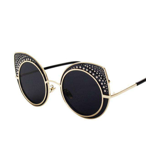 Oversize Cat Eye Round Steel Ball Frame Designer Sunglasses