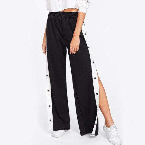 Button Side Wide Leg Mid Waist Loose Long Pants