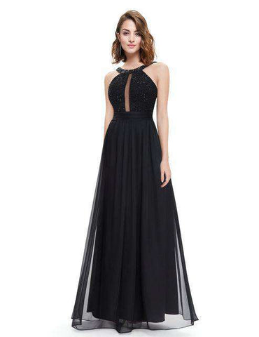 Beads Round Neck Lacy Ruffled Dress Gown