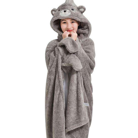 Long Sleeve Hooded Cartoon Grey Bear Bathrobe