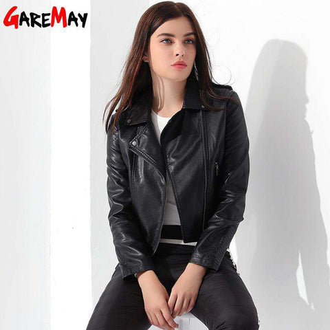 Leather Turn-down Collar Black Pink Zipper Jacket - WS-Jackets