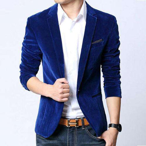 Single Button Slim Fit Velvet Blazer