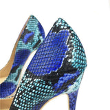 Blue Snake Printed Stilettos High Heels Pointed Toe Pumps Shoes Sandals