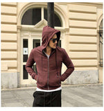 Cotton Slim thick Zipper Hoodies Sweatshirt