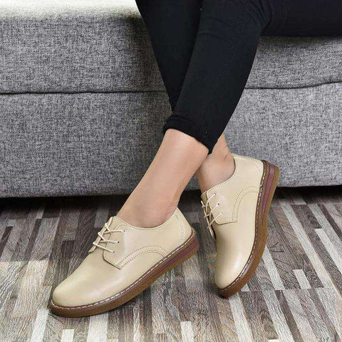 Soft Comfortable Leather Flats Lace Up Derby Shoes