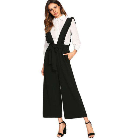 Bow Tie Culotte Pants With Ruffle Strap