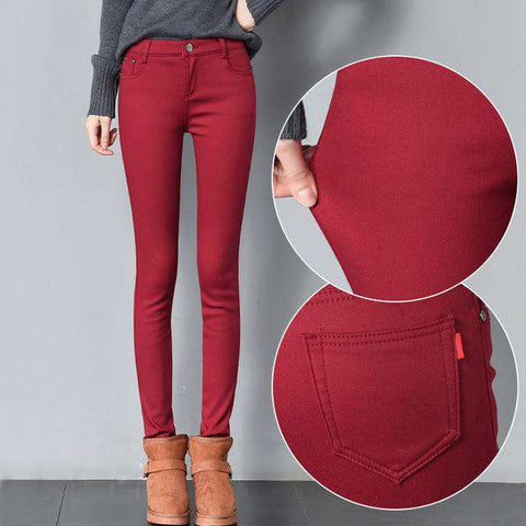 Warm Thick Velvet Skinny Pencil Jeans