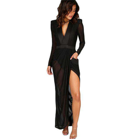 Sexy Wrap Sheer Black Deep V Neck Shoulder Pads Maxi Dress