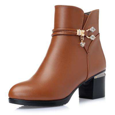 Ankle Soft Genuine Leather Thick high Heel Boots