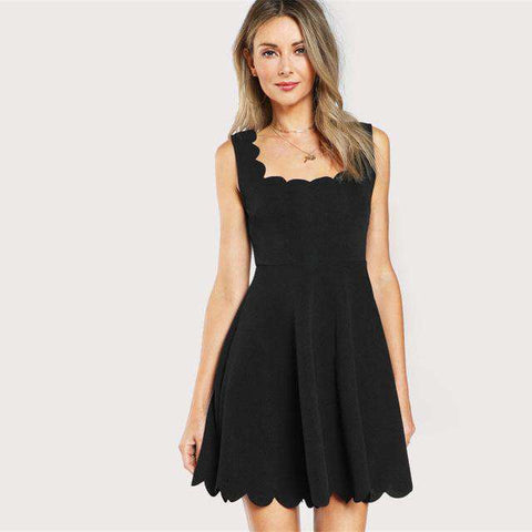 Scalloped Fitted & Flared Sleeveless Zip Short Black Square Neck A Line Dress