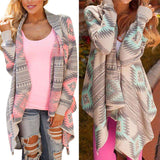Kimono Knitted Long Sleeve Print Irregular Sexy Cardigan - Wear.Style