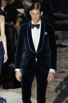 Italian Style Navy Blue Velvet Slim Fit Party Suit (Jacket+Pants)