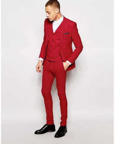 Tailor Made Red Slim Fit 3 Piece Party Suit