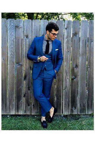 Navy Blue 3 Piece Slim Fit Party Suits - Wear.Style
