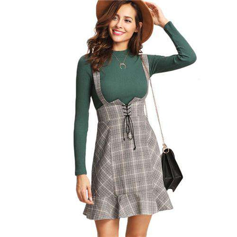 High Waist Lace Up Front Ruffle Hem Plaid Grey Zipper Back Sheath Skirt