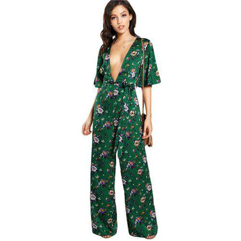 Sexy Bell Sleeve Plunge Neck Self Belted Palazzo Jumpsuit