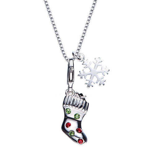 Colourful Swarovski Crystal Austrian Rhinestone Santa Socks Pendant Necklace