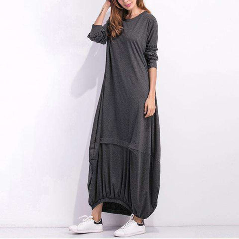 Long Sleeve Casual Plain Long Maxi Dress