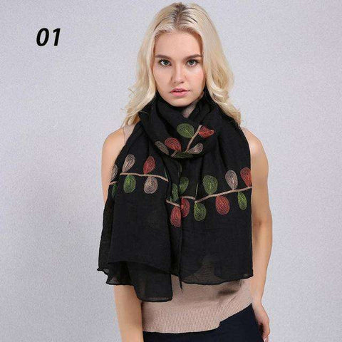 Cotton Linen Natural Chic Plant Embroidery Scarf