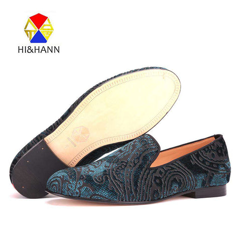 blue velvet shoes with Paisley print - Wear.Style