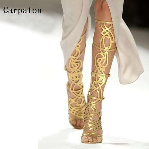 Women Knee High Sandals Boots Luxury Gold Metal Decoration Cut-Out Open Toe Gladiator