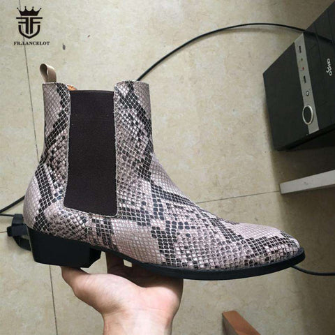 High-end Luxury Serpentine Handmade Chelsea Boots
