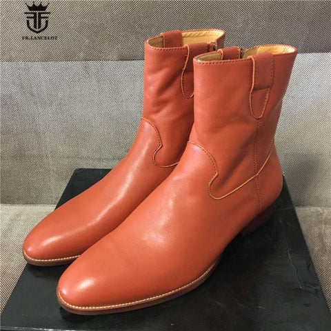 Genuine Leather Luxury Handmade Soft Leather zipper Boots - Wear.Style