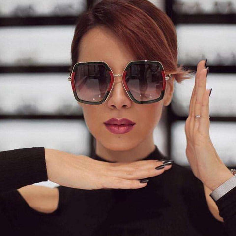 Square Luxury Designer Oversized Crystal Sunglasses