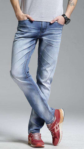 Stretch Denim Zip Fly Blue Full Length Mid Jeans