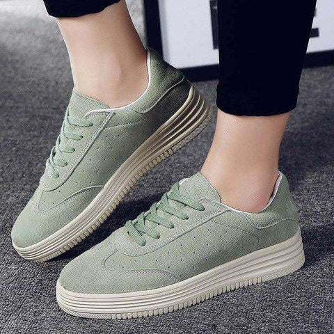 High Quality Genuine Suede Leather Lace Up Green Thick Soles Shoes