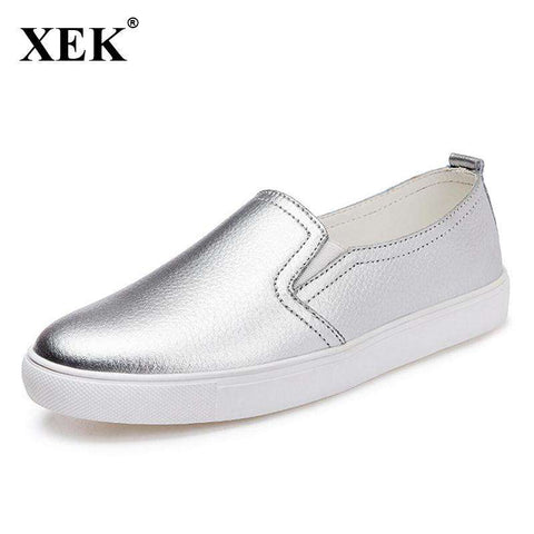 Real Leather Flat Silver Shoes - Wear.Style