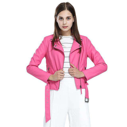 Hot Pink PU Leather Short Crop Top Jacket - WS-Jackets