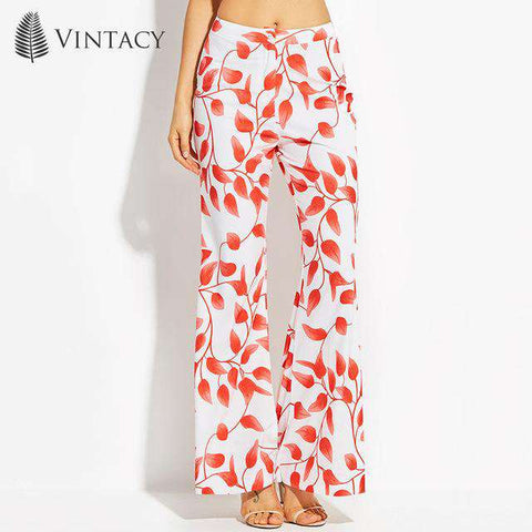 White Red Print Floral Boho High Waist Palazzo Bell Bottom Flare Pants