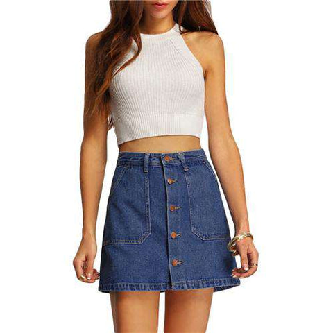 Blue A-line Button Through Mid Waist Above Knee Shift Short Skirt With Pocket