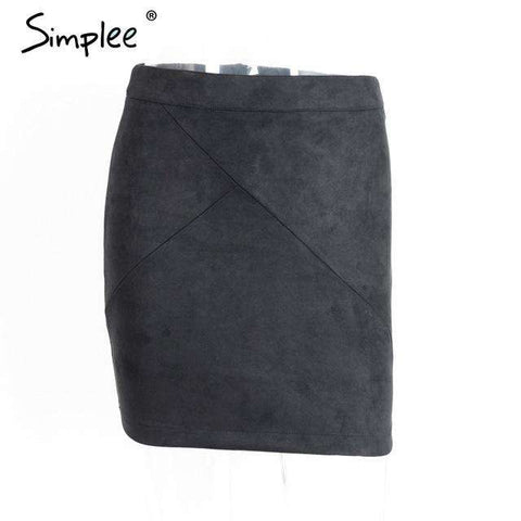 Leather Suede Pencil High Waist Zipper Split Short Skirt - Wear.Style