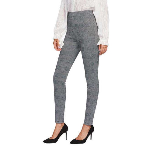 High Waisted Elegant Grey Plaid Stretchy Pants