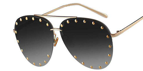 Rimless Flattop Rivet Sunglasses