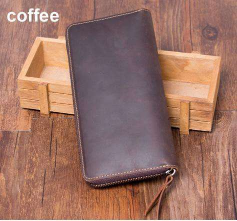 Genuine Leather Long style Zip around Wallet Purse