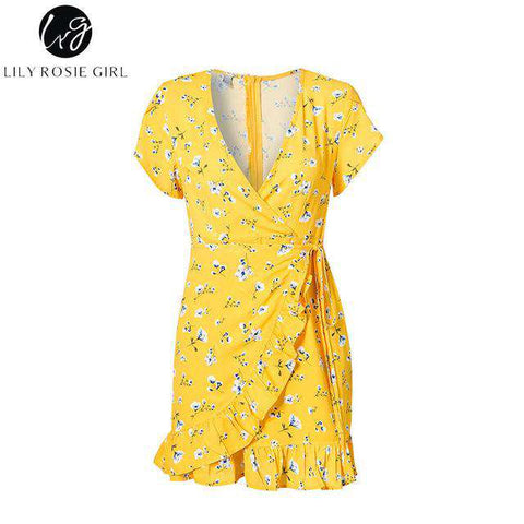 Lily Rosie Sexy Wrap V Neck Floral Print Yellow Mini Dresses - Wear.Style