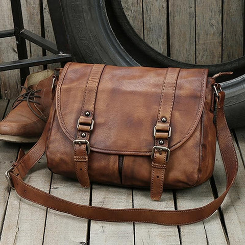 Brown Genuine Leather Leather Messenger Bag Shoulder Bag