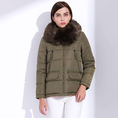 Fur Down Parka Short Slim Warm Big Fur Jacket - WS-Jackets