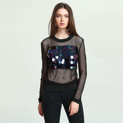 Hollow Out Long Sleeve Sequins Top