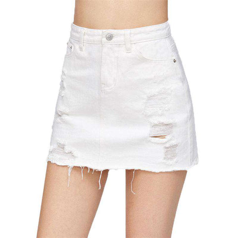 Distressed Fray Hem White Ripped Mid Waist Sheath Short Skirt