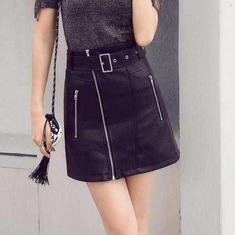 Zipper Up Faux Leather Sexy Mini Skirt with Two Pockets