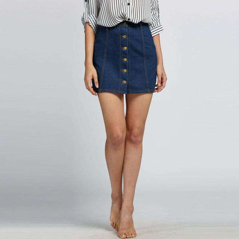 Sexy Mini High Waist Buttons Casual Denim Skirt - Wear.Style