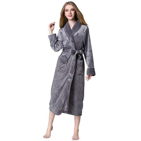 Unisex Flannel Long Sleeve Bathrobe